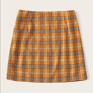 Yellow plaid mini skirt